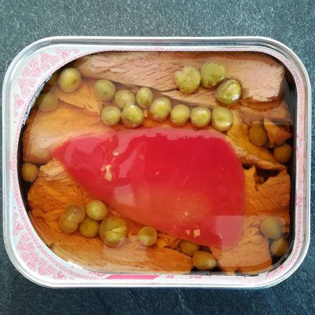 Morrillo Dose vom Roten Thunfisch in Olivenöl traditionell mit Paprika und Erpsen bei TarifaFisch